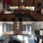 Före och efter omlackering av köksluckor | Västkust Lackering
